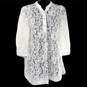 ANNIE GRIFFIN off white lace tunic top